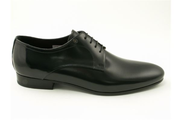 Lace made of semi-gloss black leather, leather bottom. Ideal for the ceremony.