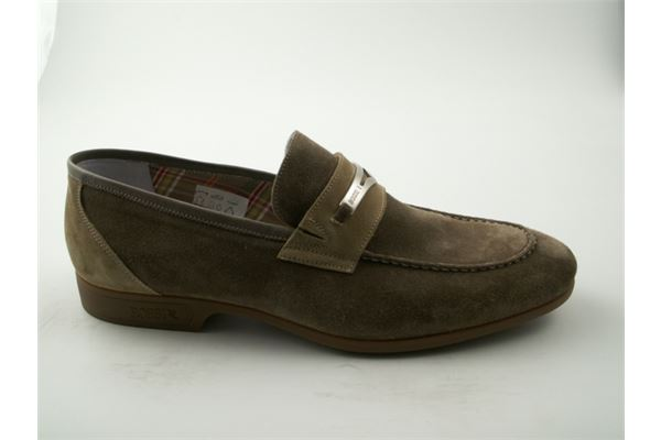 Beige suede moccasin. Extremely comfortable and lightweight with rubber bottom.